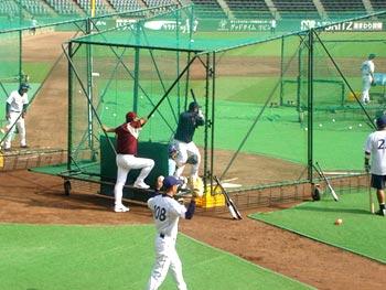 清原選手のバッティング練習